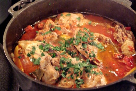 Add chopped parsley to Chicken Cacciatore