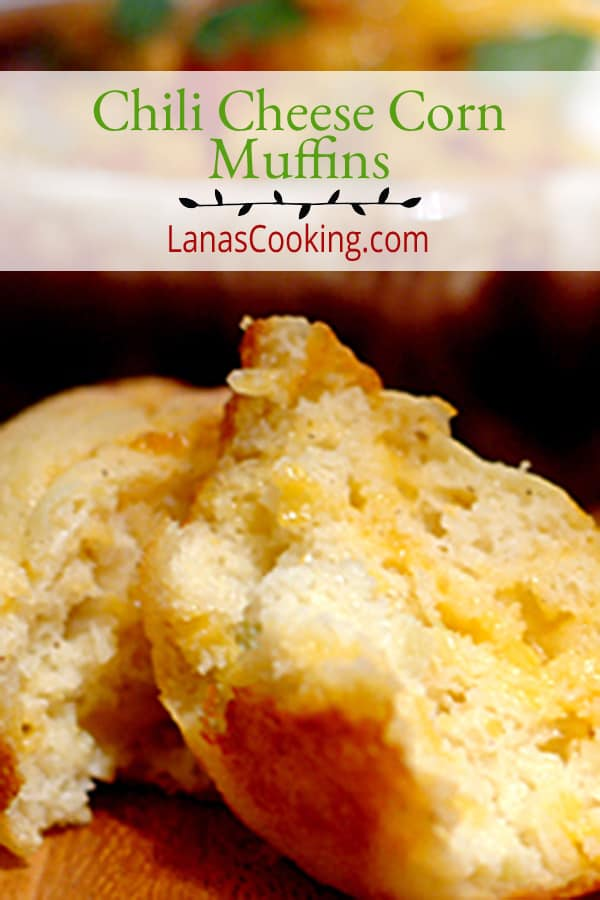 Moist corn muffins packed full of sharp cheddar and green chilis. Perfect with cool weather soups and stews.. From NevrEnoughThyme https://www.lanascooking.com/chili-cheese-corn-muffins/