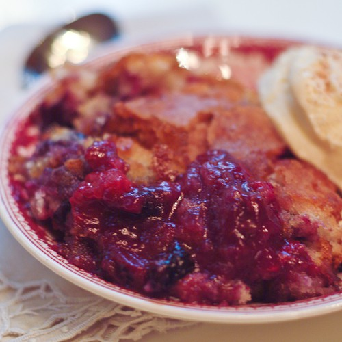 Mixed Berry Cobbler - warm from the oven cobbler of strawberries, blueberries, raspberries and blackberries. From @NevrEnoughThyme http://www.lanascooking.com/mixed-berry-cobbler