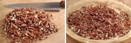 Chop pecans for Pecan Cheesecake Pie