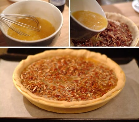 Pour the pecan pie layer on top of the cheesecake layer