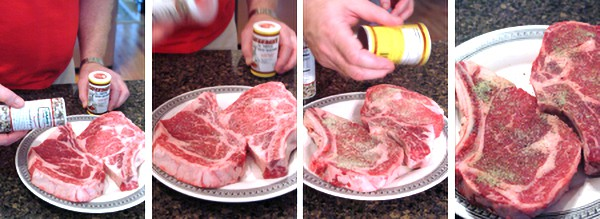 Seasoning the steaks