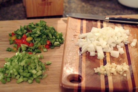 Prepping veggies for Seafood Casserole