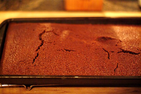 Warm cake ready for icing.