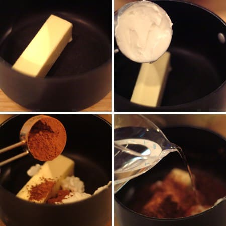 Combining butter and cocoa in a saucepan.