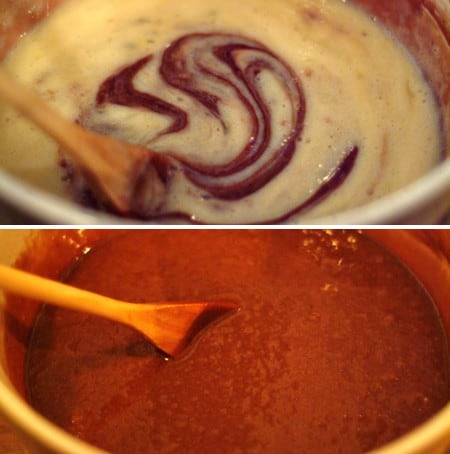 Stirring wet ingredients into the chocolate mixture.