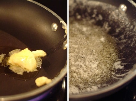 Melt butter and olive oil for Home Fries