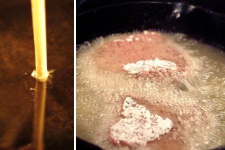Seasoned, floured cubed steak added to hot oil in a frying pan.