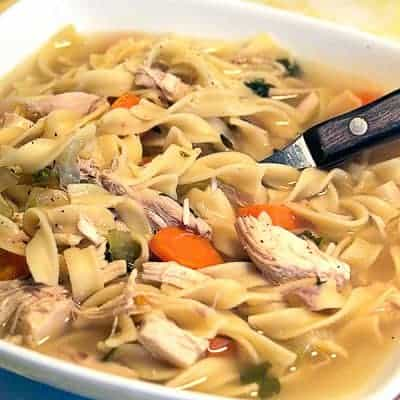 We're going back to basics with this Classic Chicken Noodle Soup made with homemade chicken broth. From @NevrEnoughThyme https://www.lanascooking.com/chicken-noodle-soup-and-back-to-basics-homemade-chicken-broth/