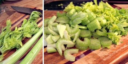 Prep celery for chicken noodle soup