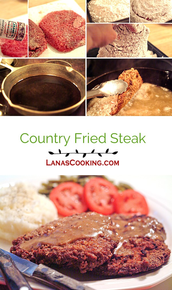 Country fried steak is an old deep south classic. Cubed round steak, well seasoned and dredged in flour then fried to a golden brown From @NevrEnoughThyme http://www.lanascooking.com/country-fried-steak