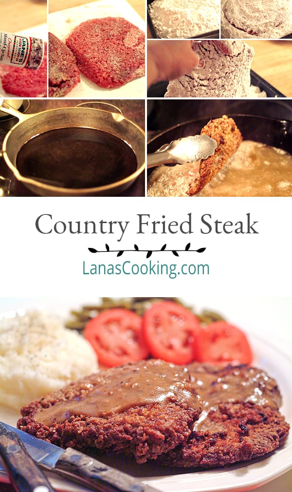 Country fried steak is an old deep south classic. Cubed round steak, well seasoned and dredged in flour then fried to a golden brown From @NevrEnoughThyme https://www.lanascooking.com/country-fried-steak