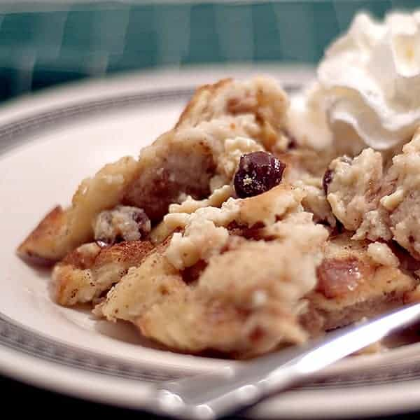 Old Fashioned Bread Pudding with raisins. A warm, comforting ending to any meal on cold fall and winter evenings. From @NevrEnoughThyme https://www.lanascooking.com/bread-pudding/