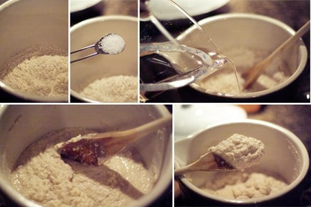 Photo collage showing the mixing of corn pone bread