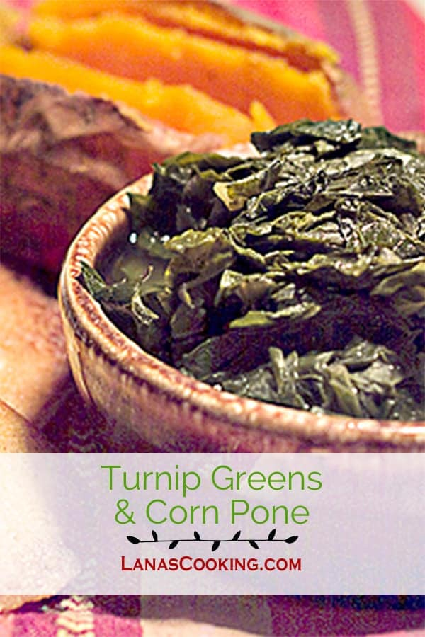 A combination as Southern as it gets. Turnip greens and corn pone. Tender greens served with crispy, golden brown corn pone. From @NevrEnoughThyme https://www.lanascooking.com/tunrnip-greens-and-corn-pone
