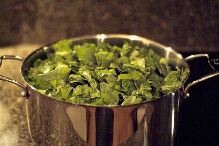 Large pot filled with turnip greens
