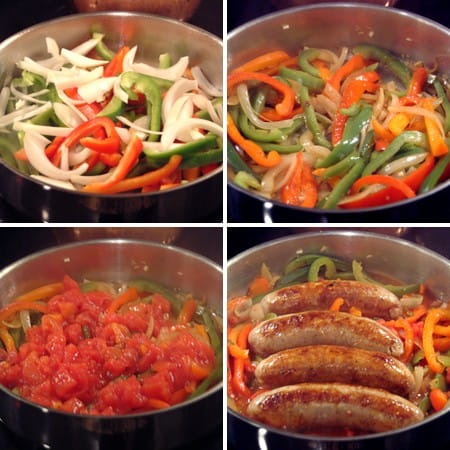 Adding tomatoes, onions, and peppers to the skillet.