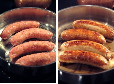 Browning sausages in a skillet.