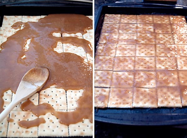 Pour the hot butter and sugar mixture over the crackers