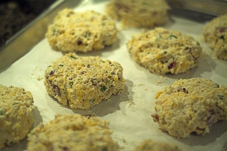 Form the Bacon Cheddar Biscuits and place on baking pan