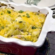 Cheesy Ham and Potato Bake is just good, old fashioned comfort food. Ham, cheese and potatoes combined in an oven-baked dish. https://www.lanascooking.com/cheesy-ham-and-potato-bake/
