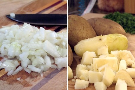 Prep the onions and potatoes for Cheesy Ham and Potato Bake
