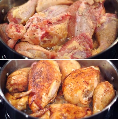 Searing the chicken for Smothered Barbecued Chicken