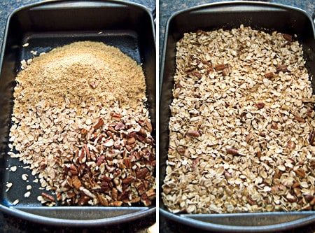 Toasting the grains and nuts for Homemade Granola