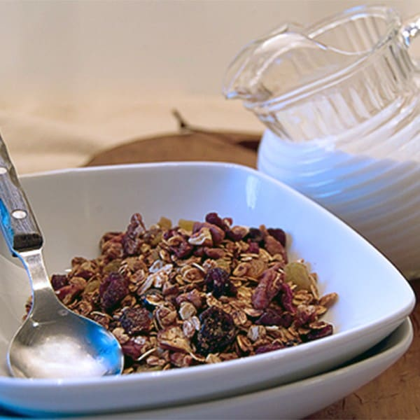 Homemade granola with pecans, dried berries, dried cherries and golden raisins. From @NevrEnoughThyme http://www.lanascooking.com/homemade-granola