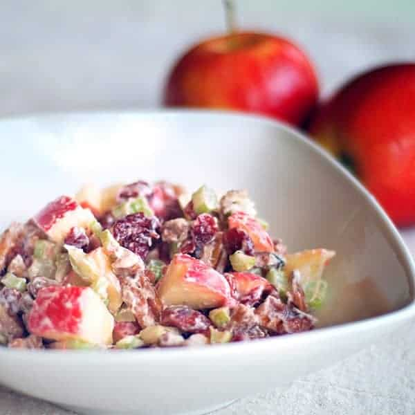 Not Quite Classic Waldorf Salad - my version of the classic waldorf salad using apples, pecans, celery, and dried cranberries. From @NevrEnoughThyme https://www.lanascooking.com/not-quite-classic-waldorf-salad/