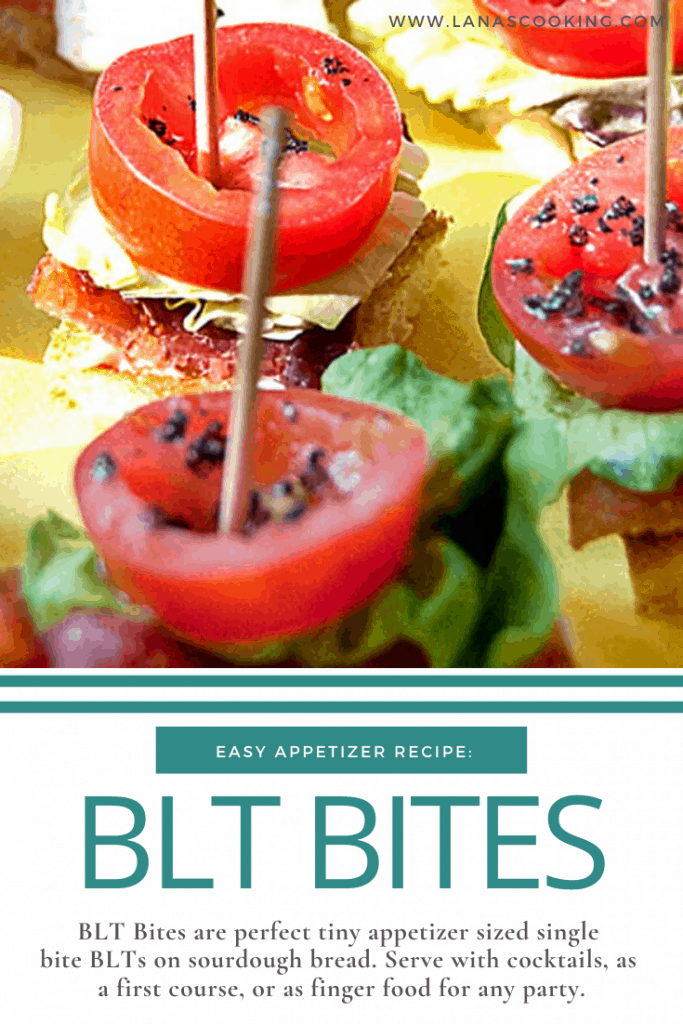 BLT Bites are perfect tiny appetizer sized single bite BLTs on sourdough bread. Serve with cocktails, as a first course, or as finger food for any party. From @NevrEnoughThyme https://www.lanascooking.com/blt-bites/
