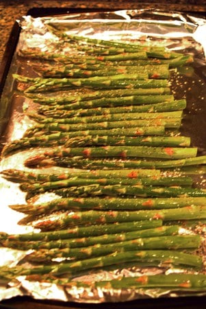 Place the prepared asparagus on a foil-lined baking sheet