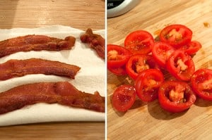 Cook the bacon and slice the cherry tomatoes