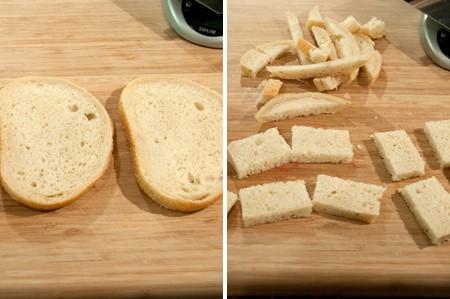 Prepare the sourdough bread for BLT Bites