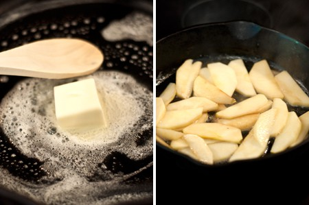 Melt butter in a skillet and add apple slices