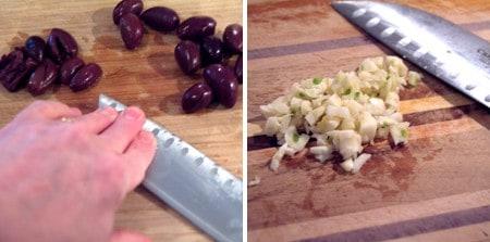 Preparing kalamata olives and garlic on a cutting board.