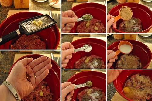 Adding spices to meatball mixture.