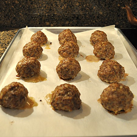 Meatballs after cooking.
