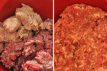 Meats for meatball mixture in a mixing bowl.