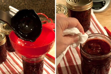 Ladle Homemade Strawberry Jam into sterile canning jars