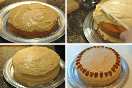 Photo collage showing the steps in frosting the cake layers.