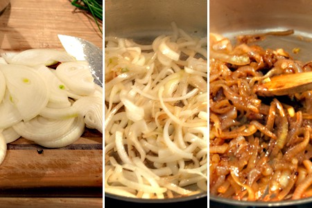 Caramelize onions for White Pizza