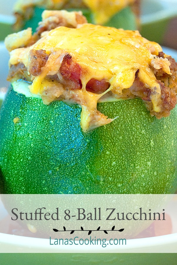 Stuffed 8-Ball Zucchini - Unique single serving size zucchini stuffed with bacon, tomato, onion, cheese and seasoned bread crumbs. From @NevrEnoughThyme https://www.lanascooking.com/8-ball-zucchini/