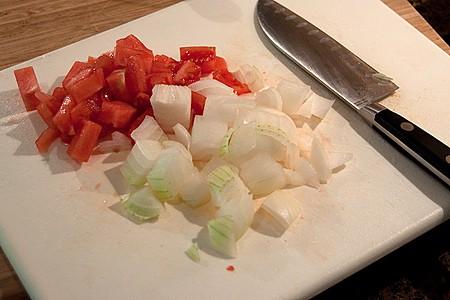 Chopped tomato and onion