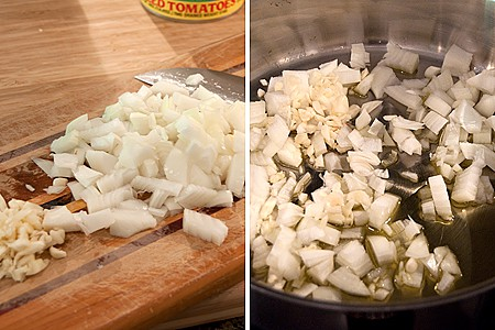 Prep the onions and garlic for Pasta with Tomato Basil Sauce