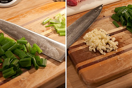Prepping scallions and garlic for beef and scallion stir fry
