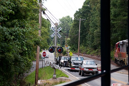 A gated crossing on the Blue Ridge Scenic Railway