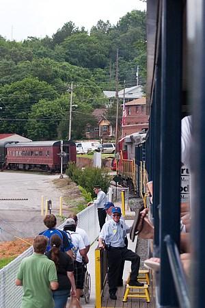 Reboarding the train