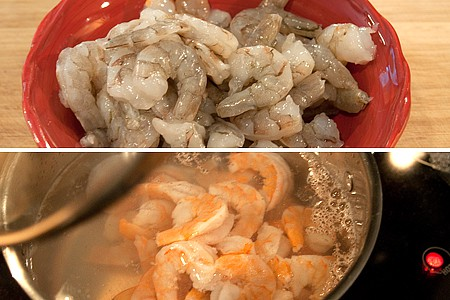 Shrimp cooking in a small saucepan.