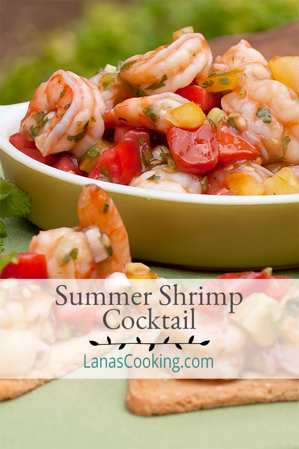 Summer Shrimp Cocktail - this is an update of the classic shrimp cocktail using bright summer flavors, jalapeno and cilantro. From @NevrEnoughThyme https://www.lanascooking.com/summer-shrimp-cocktail/